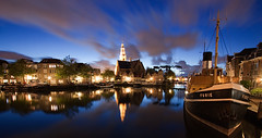 Furie (DolliaSH) Tags: city longexposure trip travel blue light vacation sky urban holiday haven holland color reflection tourism church water colors skyline architecture night clouds canon reflections river photography lights noche boat photo europe blauw foto tour place nightshot photos nacht harbour nederland thenetherlands wideangle visit location tourist le journey destination bluehour traveling visiting topf100 ultrawide nuit 1022mm notte topf250 topf200 touring stad maassluis 1022 afterdark noch zuidholland canonefs1022mmf3545usm furie southholland nachtopname canoneos50d dollia dollias sheombar dolliash