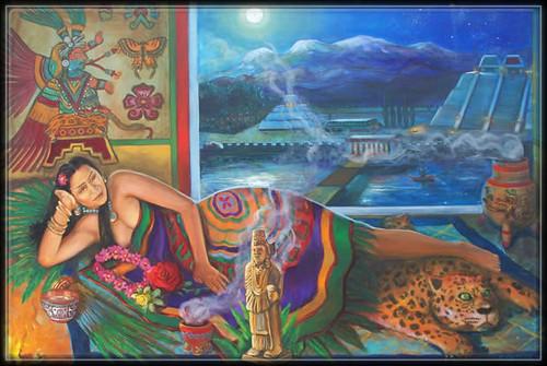 Xochiquetzal - Peinture de Ricardo Ortega