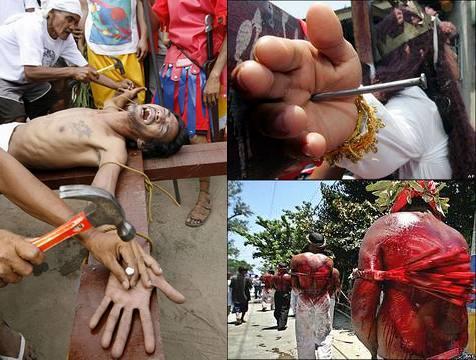 Festival da Sexta-Feira Santa nas Filipinas, onde pessoas se crucificam e se autoflagelam para pagar promessas