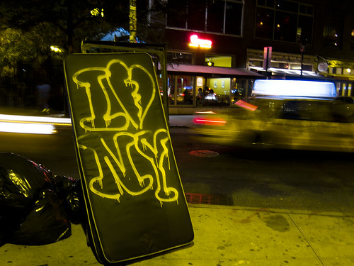 I (Black) Heart NY Mattress, on 9th St and 3rd Ave., East Village, Manhattan