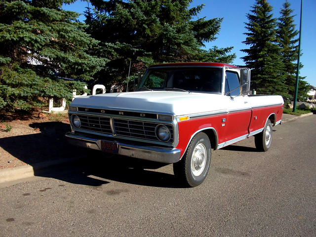 white classic ford truck 1973 f250
