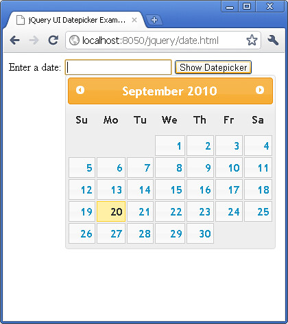 jQuery UI Change text for trigger button for datepicker tutorial