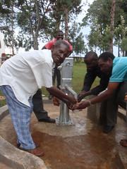 Irechero Women Group-water flowing after pump installation.