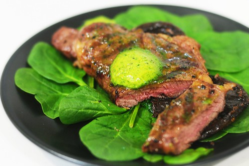 Green day: cheap sirloin with herbed butter and portobello mushrooms