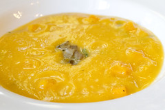 Butternut Squash Soup with Trumpet Mushrooms