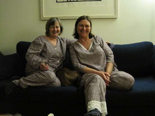 Sisters in matching jammies