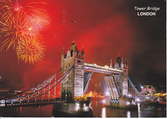 London Tower Bridge Fireworks Postcard (crayolamom) Tags: bridge england london night fireworks postcard forum postcrossing londontowerbridge