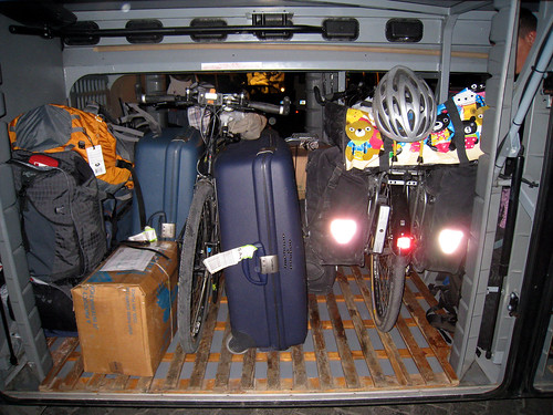 Bikes packed on bus