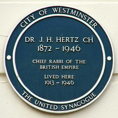 Photo of J. H. Hertz green plaque