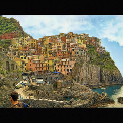 Manarola (Isn't HDR!) (in eva vae) Tags: blue houses sea sky italy panorama seascape art texture nature water colors watercolor painting landscape boats bay boat dock scenery eva italia mare blu framed liguria azure barche stairway unesco canvas cape cinqueterre framing colori manarola squared paesaggio laspezia baia postprocessing promontorio 5terre porticciolo bagnanti colorphotoaward inevavae