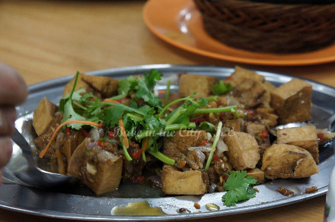 Deep Fried Tofu with Sambal Sauce