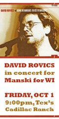 David Rovics in concert for Manski for WI