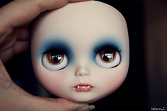 (------coconut) Tags: blue tooth mouth carved doll vampire teeth makeup carving blythe fangs custom vamp vampira
