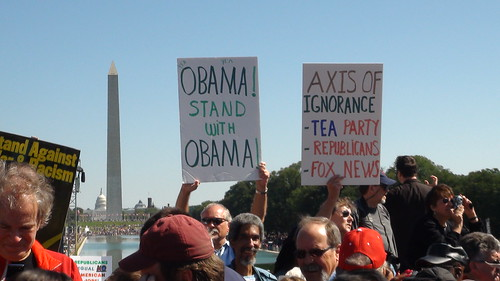 Many of the people who energized support for Barack Obama in 2008 gather at the Lincoln Memorial for the