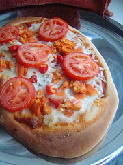 Buffalo Seitan Pizza (Vegan Feast Catering) Tags: tomato vegan peppers carrots onion spicy hotsauce seitan celery soymozzarella tofublucheeze
