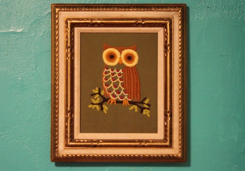 Retro Vintage 70s Owl Needlepoint Art