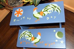 Roost by Day, Roost by Night (Second Drafts) Tags: design paint furniture painted funky rooster custom stool decor salvage interiordesign artisan roost reuse refinished salvaged redo refinish stepstool paintedfurniture