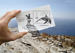 Pencil Vs Camera - 36 (Ben Heine) Tags: ocean sky mer inspiration art window stairs start paper landscape island freedom vacances boat seaside holidays energy rocks hand earth dolphin unique modernart air magic main hill visualarts dream free bluesky adventure oxygen greece ciel libert frame mickeymouse terre orca con