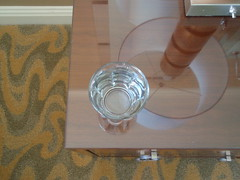 water glass, lamp, reflection
