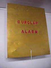 Vault burglar alarm housing from old  bank building (O B McClintock bank vault burglar alarm) Tags: alarm clock minnesota electric museum panel time bell ace police bank victor master american vault safe horn yale robbery edwards electrical timer protection gauge siren adt volt burglar diebold mosler holdup bankers mcclintock milliampere ademco obmcclintock amseco