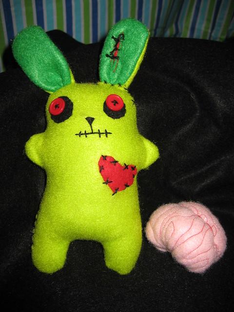 Felt Zombie Bunny w/ brain