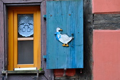 En Alsace, j'ai aim les volets bleus ~ I loved blue shutters, in Alsace (Michele*mp slowly catching up) Tags: blue france window october europe village bleu alsace fentre rideau octobre oie basrhin alsacien volet turckheim michelemp