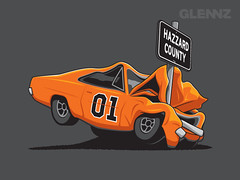 Hazzard County (Glennz Tees) Tags: art nerd fashion illustration design funny geek drawing humor cartoon tshirt illustrator draw popculture tee vector ai apparel adobeillustrator glenz glennjones glenjones glennz gleenz glennnz
