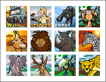 free Safari Hunt slot game symbols