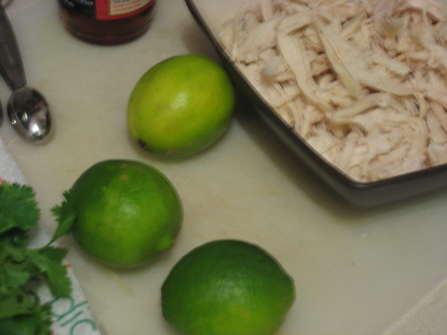 cilantro, limes, shredded chicken
