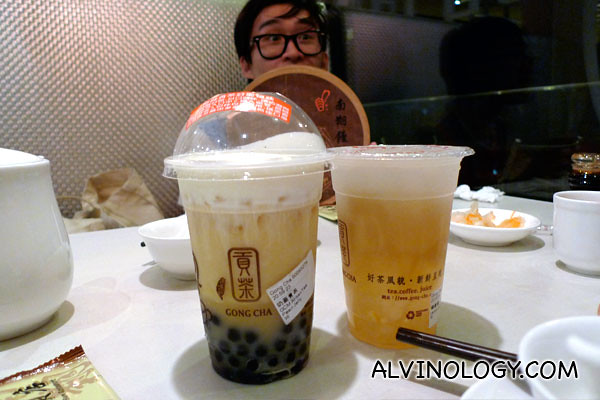 Our two cups of Gong Cha - a signature 奶蓋茶 (Milk-top tea) and a 檸檬愛玉 (Lemon Jelly Fig)