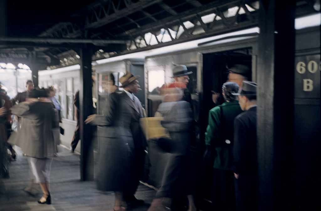 Esther Bubley: People getting on the Third Avenue elevated train (El) on the East Side of Manhattan, 1951.