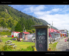 Fresh West Coast Blues (tomraven) Tags: newzealand mountains sign architecture coast cafe bush board blues westcoast hdr granity huses tomraven aravenimage q42010