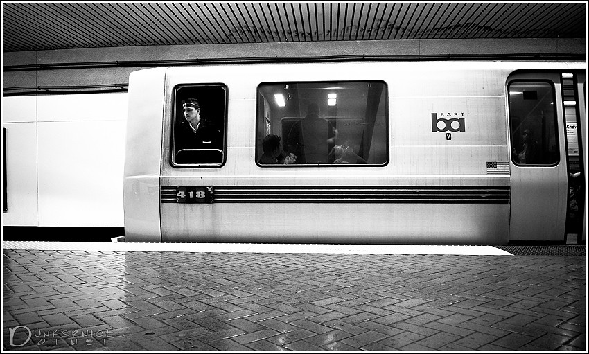 Doors closing B&W.