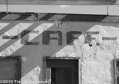 Essex Cafe (4 Corners Photo) Tags: california blackandwhite building abandoned sign vintage restaurant cafe route66 unitedstates desert antique structure northamerica ghosttown essex mojavedesert motherroad sanbernardinocounty canoneos50d essexca