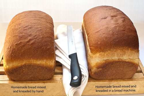 unsliced bread--one mixed by hand and other mixed in bread machine; comparison pic