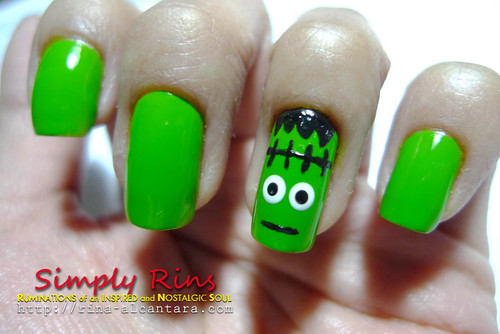 Nail Art Halloween Frankenstein 02