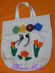sacola ecologica (Marina Fashion Flores) Tags: flores c feltro em sacola ecologica