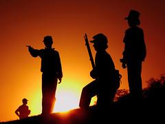 Play War (radarbrat photography) Tags: sunset playing eye silhouette kids canon war play hill rifle games civilwar guns photog abelincoln civilwarreenactment civilwarcamp radarbrat hartforcitycivilwarreenactment