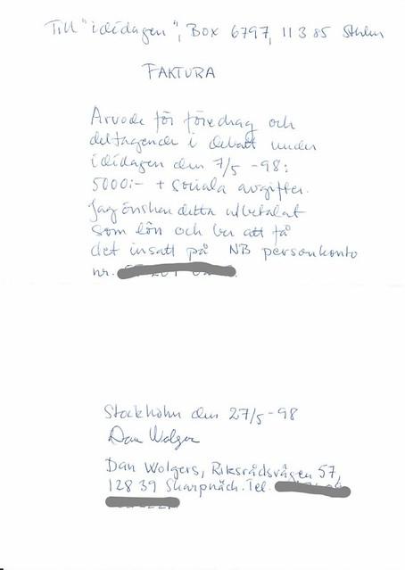 Dan Wolgers faktura från 1998