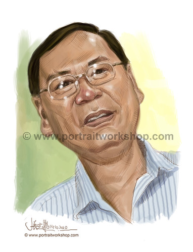 digital portrait illustration of Lee Kim Siang watermark