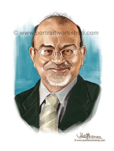 digital portrait illustration of Shabbir Hakimuddin Hassanbhai watermark
