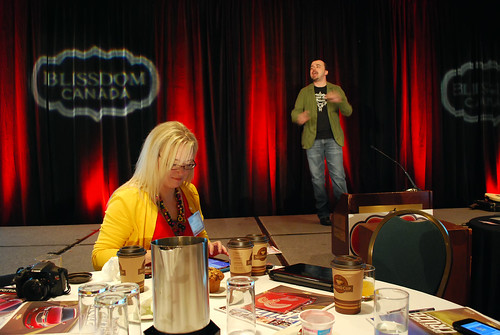 Redneck Mommy during Scott Stratten's BlissDom Canada keynote