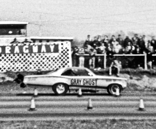 The Gray Ghost at Detroit Dragway, 1967. Now you know why they call 'em Funny Cars!