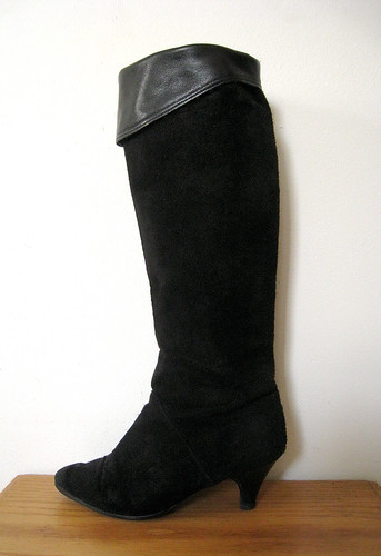 Black Suede Tall boots, 1980's