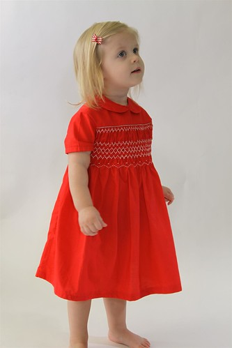 1961 Hand Smocked Red Toddler Dress Handmade Christmas Dress