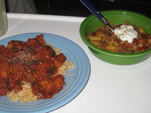 Pumpkin & tomato over rice, veggie chili