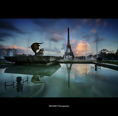Bully Eiffel (Feo David) Tags: pink sunset sky paris france reflection tower water clouds tour eiffel bull trocadero