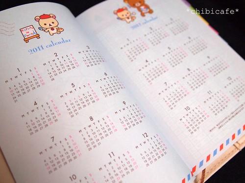 2011年用リラックマ手帳 年間カレンダー