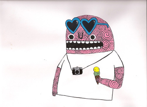 pink monster with an ice cream in his hand.