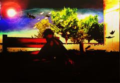 Waiting at sunset (KassKiss ~(* 3*)~) Tags: sunset green colors waiting colours avatar butterflies curls redhead sl virtual wait